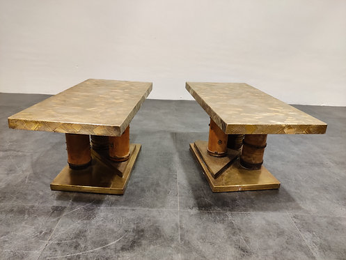 Unique brutalist brass coffee tables or side tables, 1970s