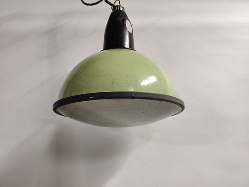 Vintage industrial pendant lights with glass (3 available), 1960s