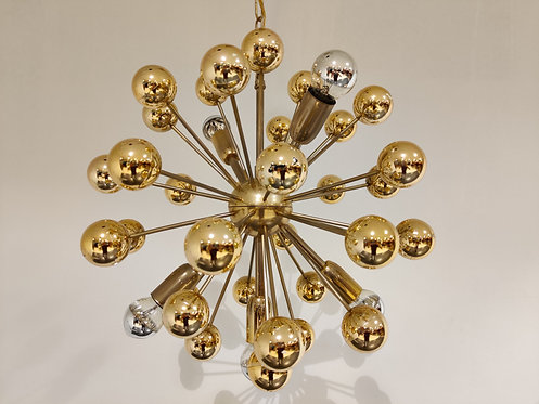 SOLD Vintage brass sputnik chandelier, 1970s