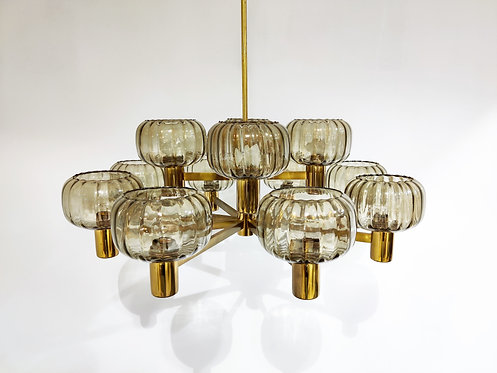 SOLD Vintage scandinavian  brass and glass chandelier, 1960s