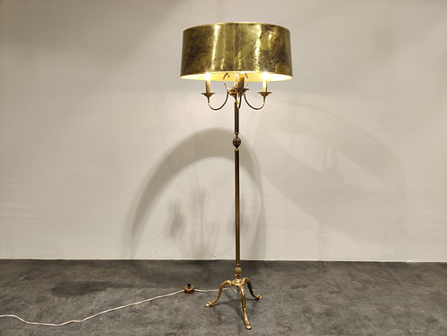 SOLD Vintage brass neoclassical tripode floor lamp, 1960s
