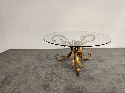 Vintage gilt metal sheaf of wheat coco chanel coffee table 1960s