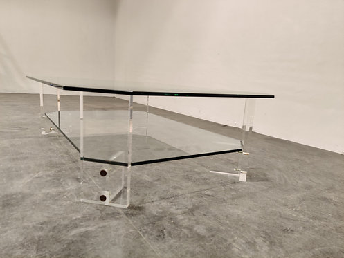 SOLD Lucite and glass coffee table, 1970s