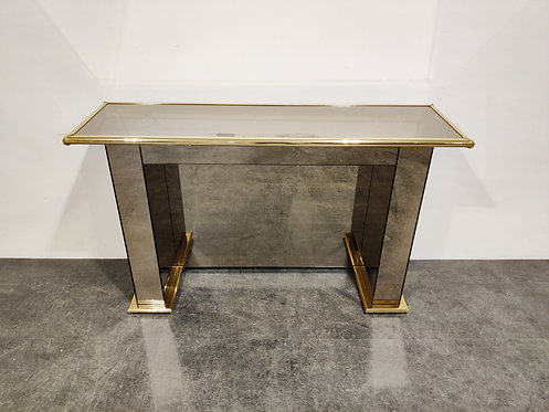 SOLD Brass mirrored console table, 1970s