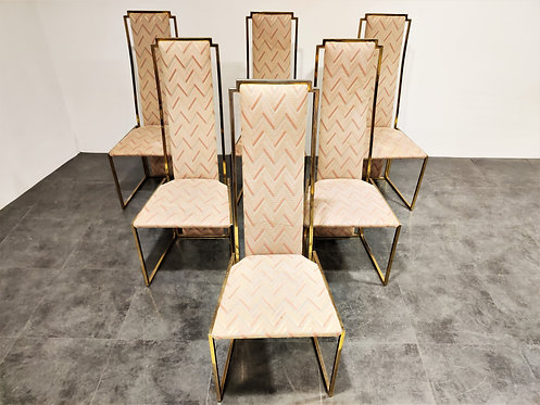 SOLD Vintage brass dining chairs by Belgo chrom, 1970s