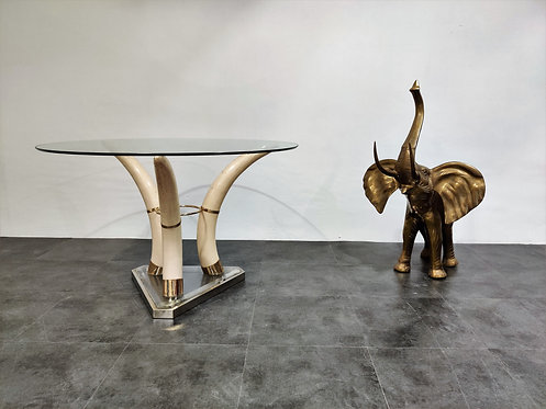 Vintage faux tusk center table, 1970s