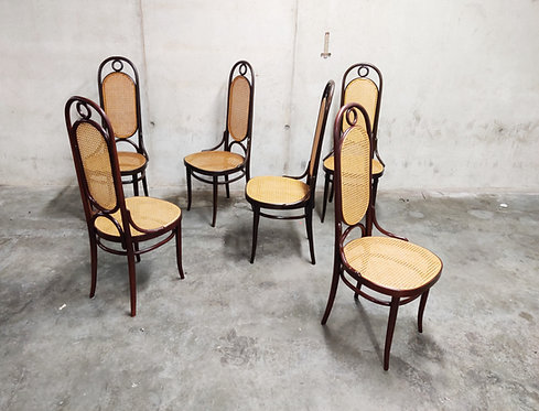 Vintage Thonet 'Long John' dining chairs, set of 6, 1980s