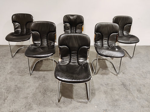 Vintage dining chairs by Willy Rizzo for cidue set of 6, 1970s