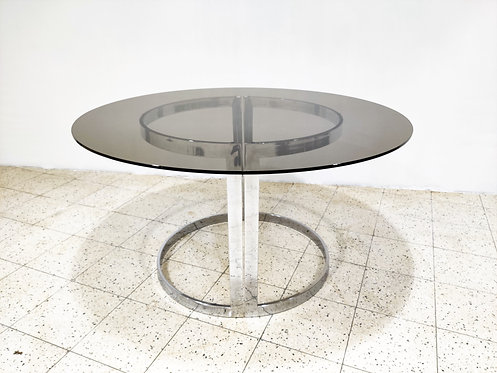 SOLD Chrome & Smoked Glass Dining Table by Milo Baughman, 1970s