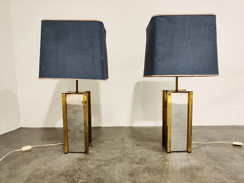 Pair of chrome and brass table lamps, 1970s