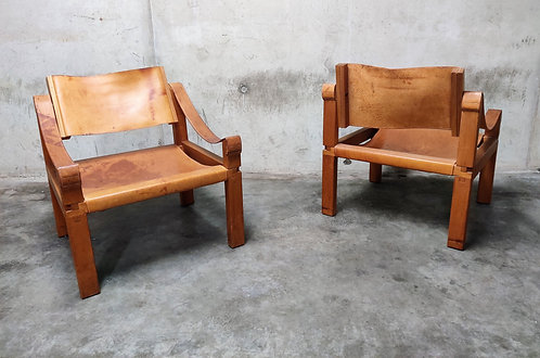 SOLD Pair of Pierre Chapo sahara S10 Easy Chairs in Cognac Leather and Oak