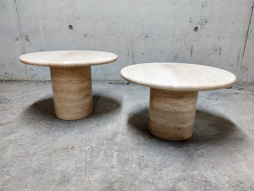 Vintage round travertine coffee tables by Up & Up, 1970s