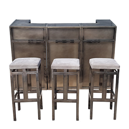 Vintage chrome and brushed steel bar with stools by Maison Jansen, 1970s