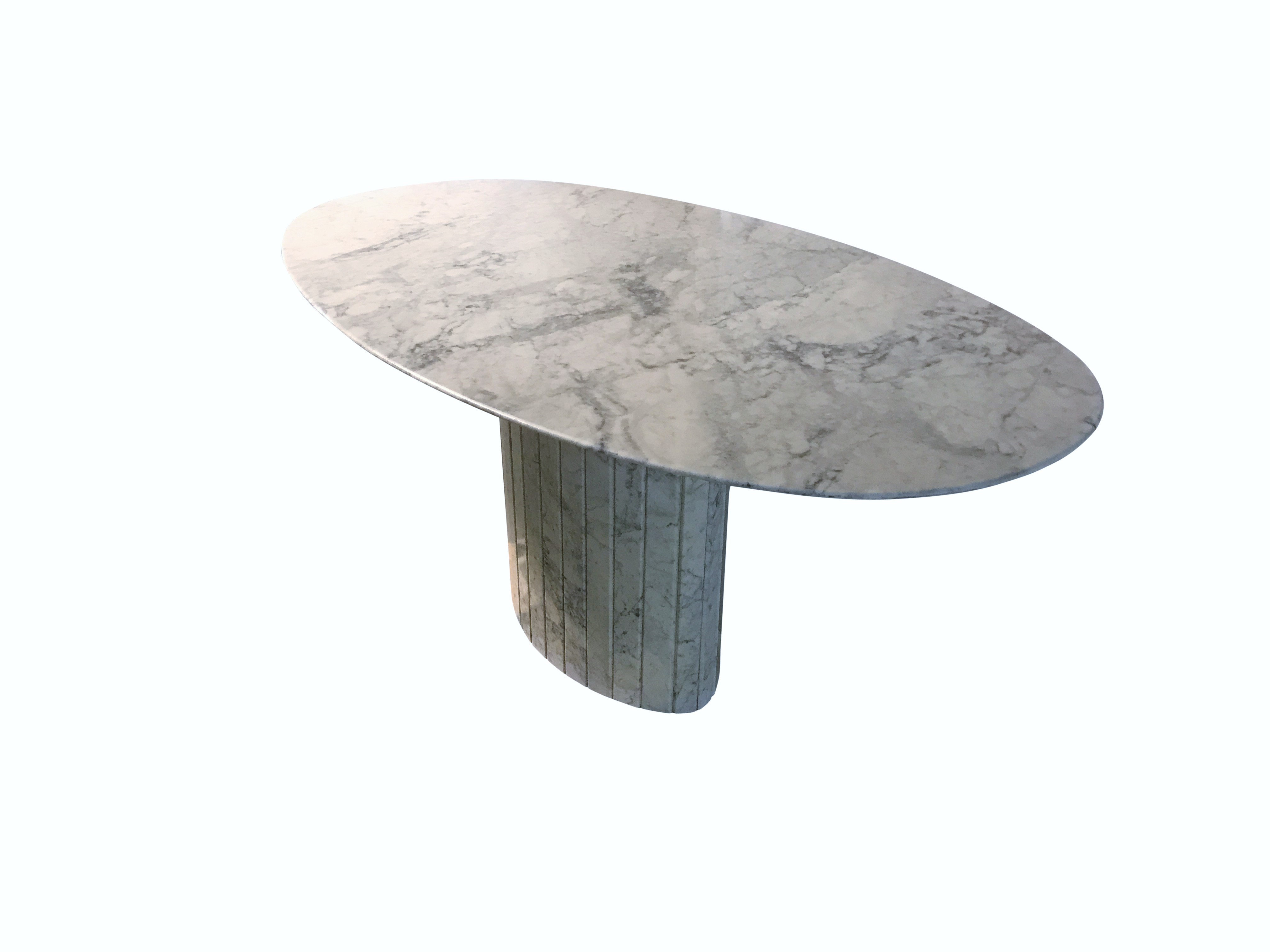 Oval Carrara Marble Dining Table 1970s Vintiques