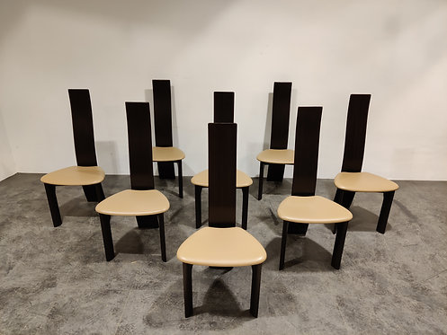 SOLD Set of 8 dining chairs by Rob & Dries van den Berghe, 1980s