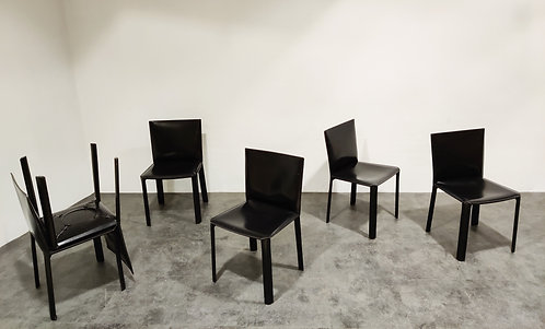 SOLD Black leather dining chairs by De Couro Brazil, 1980s - set of 6