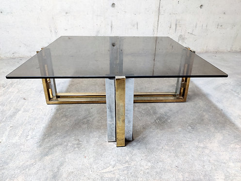 Vintage brass and chrome coffee table, 1970s - hollywood regency coffee table -