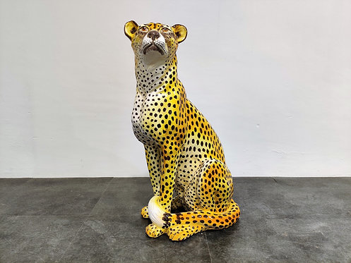SOLD Italian Glazed Terracotta Leopard Figure, Height 75cm - 1960s