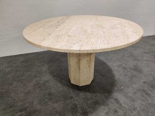 SOLD Vintage round travertine dining table, 1970s