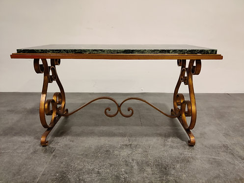 Wrought iron and marble coffee table, 1950s