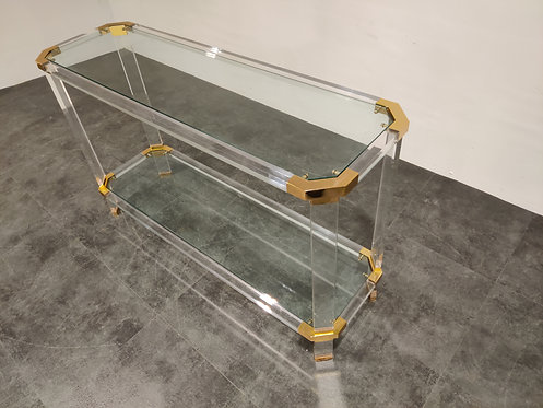 SOLD Brass and lucite console table, 1970s