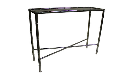 Faux bamboo console table in chrome, 1960s