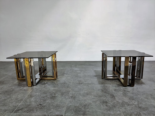 SOLD Pair of  brass and chrome coffee tables, 1970s