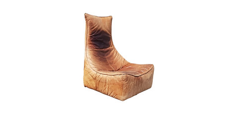 SOLD Vintage leather lounge chair 'the rock' by Gerard van den berg
