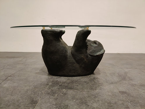 SOLD Unique Sculptural Black Bear Coffee Table, 1970s