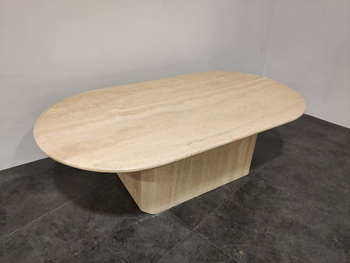 SOLD Vintage oval travertine coffee table, 1970s