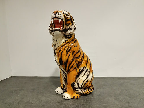 SOLD XXL Ceramic Hand Painted Tiger, 1970's Italy