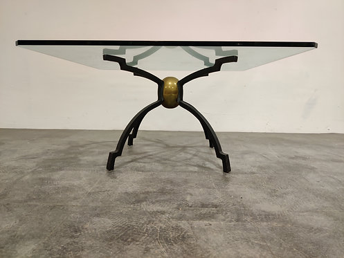 Peter Ghyczy iron and brass coffee table
