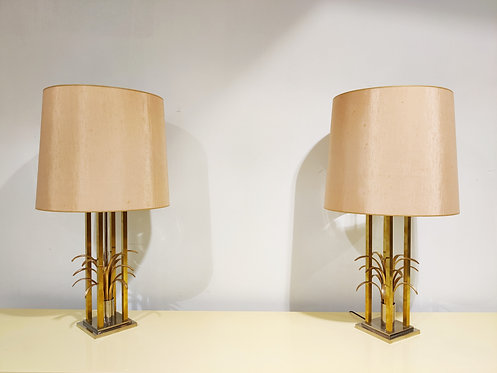 SOLD Vintage brass pineapple table lamps, 1970s