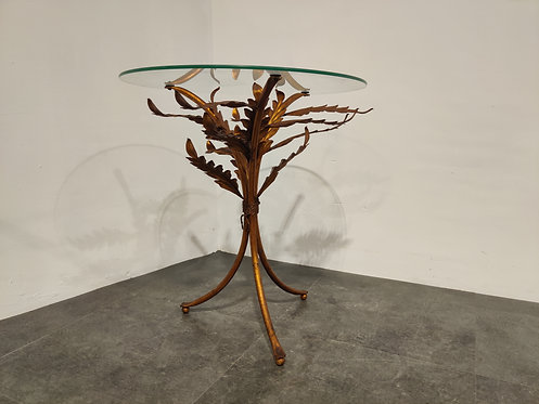 Vintage metal palm side table, italy 1960s