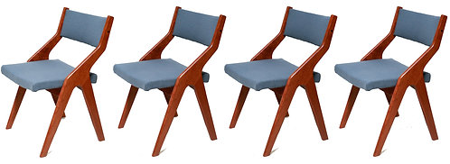 Vintage scandinavian teak wooden dining chairs, 1960s, set of 4