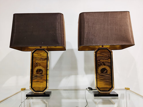 SOLD Georges Mathias 23kt gold etched table lamps, set of 2 - 1970s