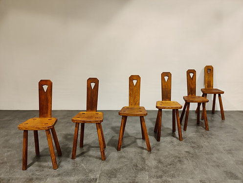 SOLD Mid century brutalist dining chairs, 1950s
