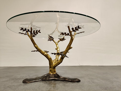 SOLD Bronze tree coffee table by Willy daro, 1970s
