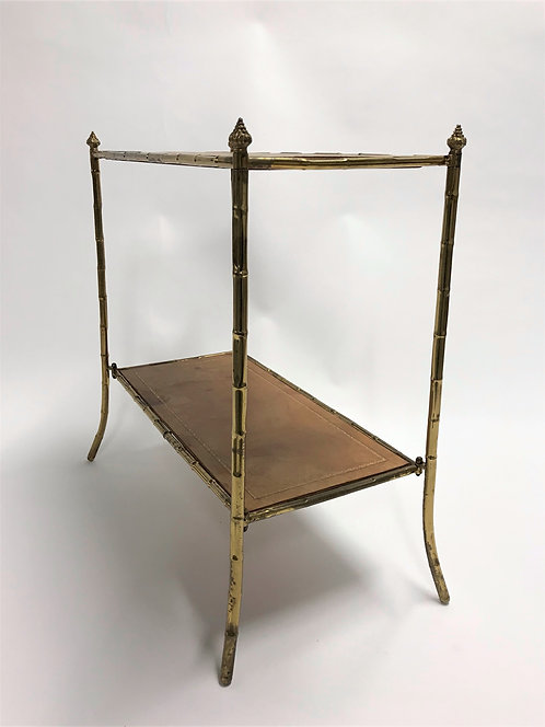 Vintage faux bamboo etagere in brass and leather, 1950s