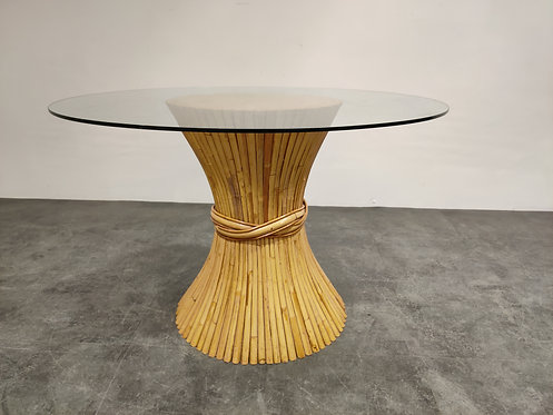 SOLD Bamboo dining table by McGuire, 1980s