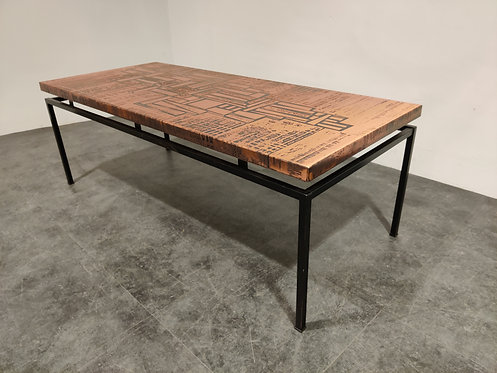 Modernist copper coffee table, 1970s