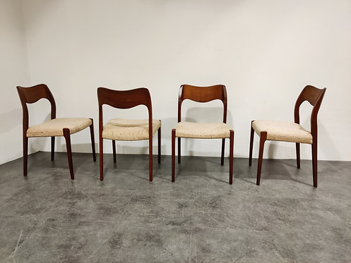 SOLD Set of 4 Niels Otto Moller model 71 dining chairs, 1960s