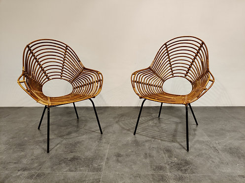 Pair of Mid-Century Rattan chairs, 1960's, netherlands