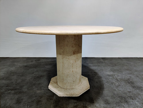 Round italian travertine dining table 1970s
