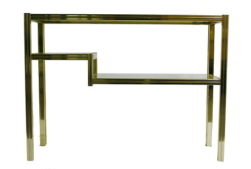 Brass and chrome two tier console table 1980s