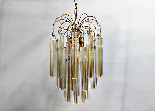 Midcentury Italian Murano by Paolo Venini White and Yellow Crystal Chandelier, 1