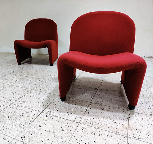 Pair of red Alky Chair Designed by Giancarlo Piretti for Castelli, 1970s