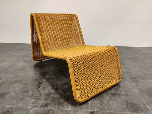 Vintage cane lounge chair model P3 by Tito Agnoli, 1960s