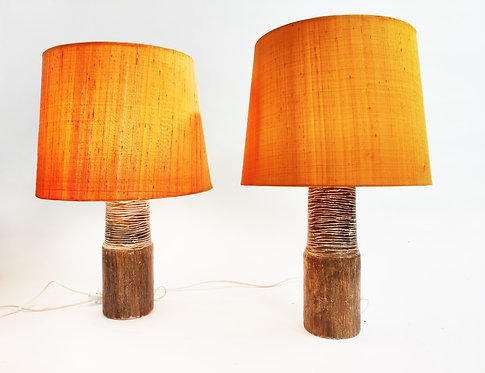 SOLD Pair of Gunnar Nylund Ceramic Table Lamps, Sweden, 1950s