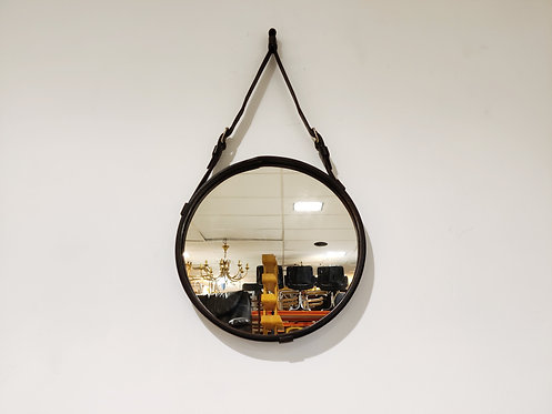 Round leather mirror by Jacques Adnet, 1950s